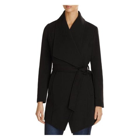 T Tahari Abbey Black Draped Coat