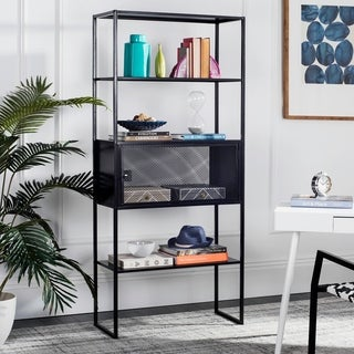 "Safavieh Abay 31.5""W Black Storage Bookshelf"