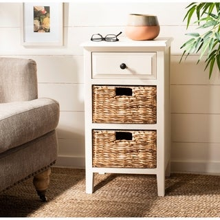 Safavieh Everly Drawer Distressed White Side Table