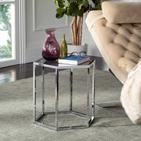 Safavieh Teagan Glass Chrome End Table