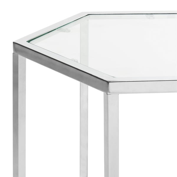 Safavieh Teagan Glass Chrome End Table   Free Shipping Today    Overstock.com   21131455