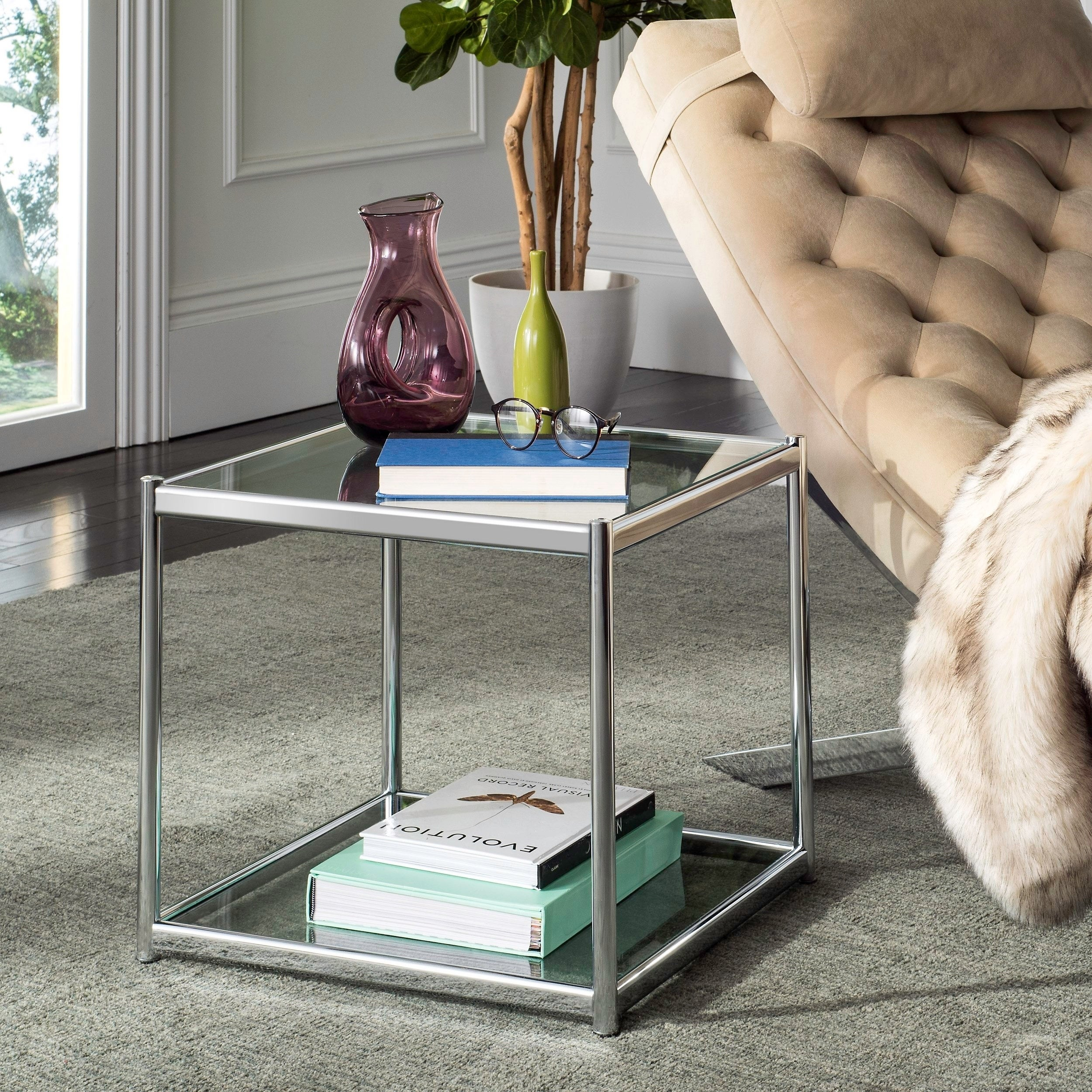 Safavieh Lilias Glass Chrome End Table (MMT6001A), Silver