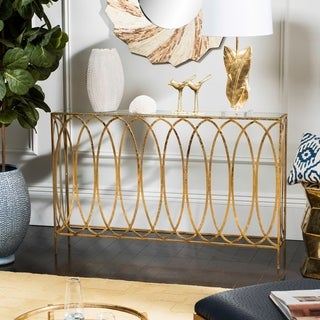 Safavieh Carina Oval Ringed Gold Console Table