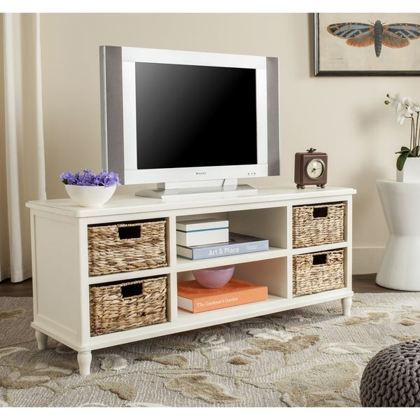 Heyer Distressed White Entertainment Unit