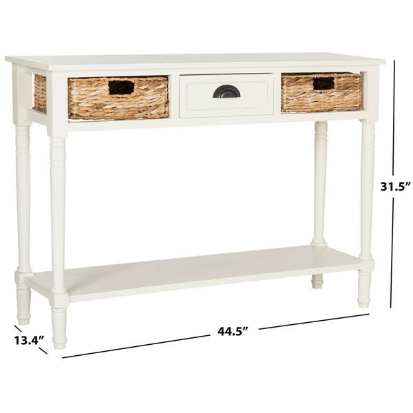 Safavieh Christa Distressed White Console Table 44 5 X 13 4 X 31 5 Overstock 14585173