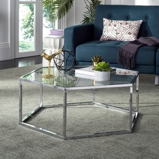 "Safavieh Eliana Glass Chrome Coffee Table - 36.2"" x 31.5"" x 13.8"""