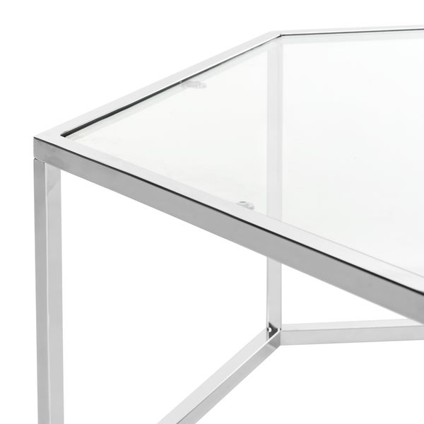 Safavieh Eliana Glass Chrome Coffee Table Free Shipping Today