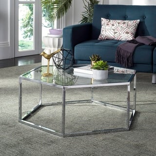 "Safavieh Eliana Glass Chrome Hexagon Coffee Table - 36.2"" x 31.5"" x 13.8"""
