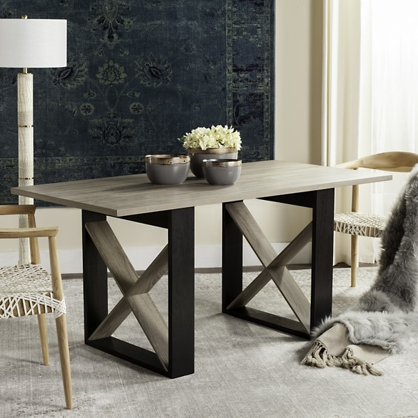 Safavieh Monty Retro Mid Century Light Grey/Black Wood Dining Table