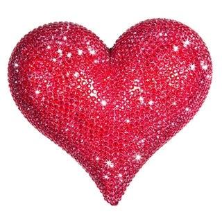 Interior Illusions Red Rhinestone 7-inch Wide Heart Sculpture
