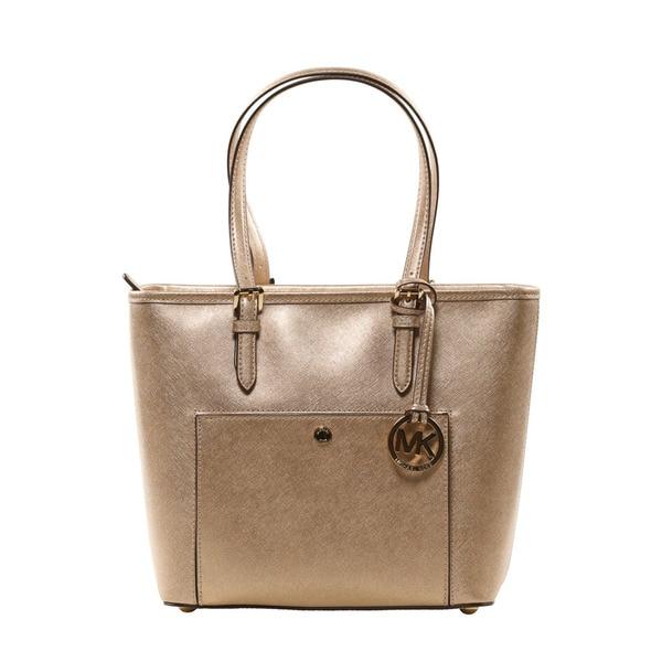 643f7972512 Shop Michael Kors Pale Gold Jet Set Item Medium Metallic Leather ...