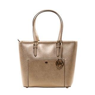 Michael Kors Pale Gold Jet Set Item Medium Metallic Leather Tote Bag