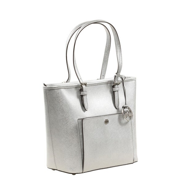 Shop Michael Kors Jet Set Medium Silver Metallic Leather