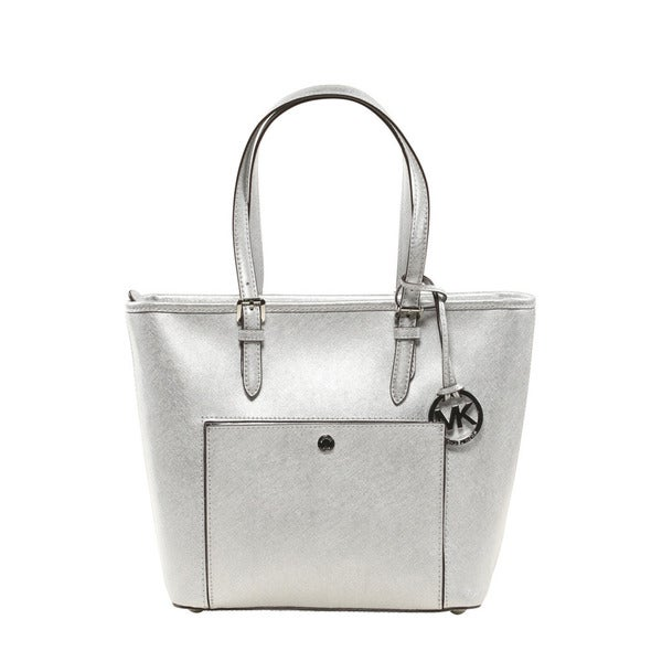 7a998dd1aaec Shop Michael Kors Jet Set Medium Silver Metallic Leather Tote Bag ...
