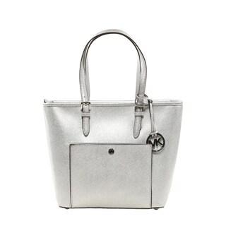 Michael Kors Jet Set Medium Silver Metallic Leather Tote Bag