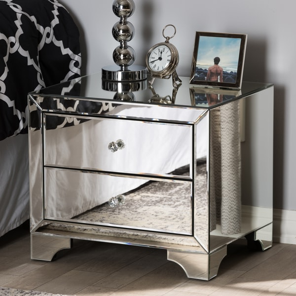 Shop Glam Silver Mirrored Nightstand By Baxton Studio On Sale Free Shipping Today