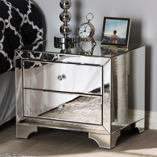 Home Goods Mirrored Furniture: Shop Glam Silver Mirrored Nightstand By Baxton Studio