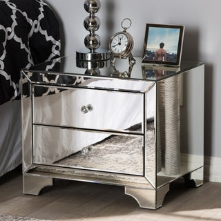 Glam Silver Mirrored Nightstand by Baxton Studio