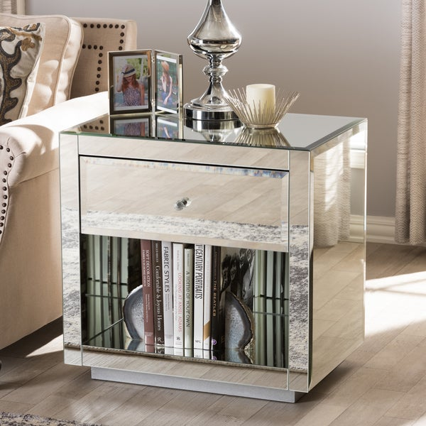 Glam Silver Mirrored Nightstand 2-Piece Set by Baxton Studio