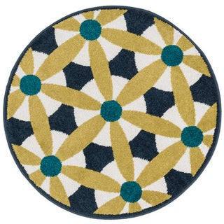 Palm Navy/ Multi Geometric Rug - 3' x 3'