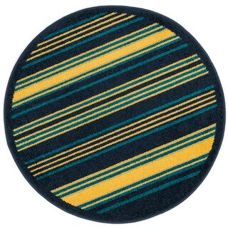 Palm Striped Rug (3' x 3' Round)