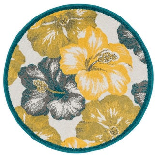 Palm Floral Hibiscus Rug (3' x 3' Round)