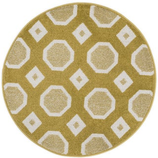 Palm Citron/ Ivory Geometric Rug - 3' x 3'