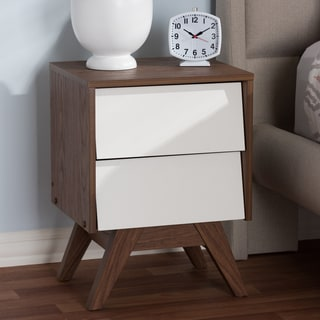 Mid-Century White and Brown Nightstand by Baxton Studio