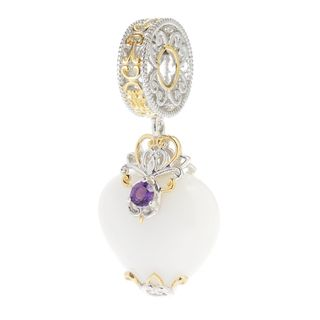 Michael Valitutti Palladium Silver Heart Shaped White Agate & Amethyst Drop Charm