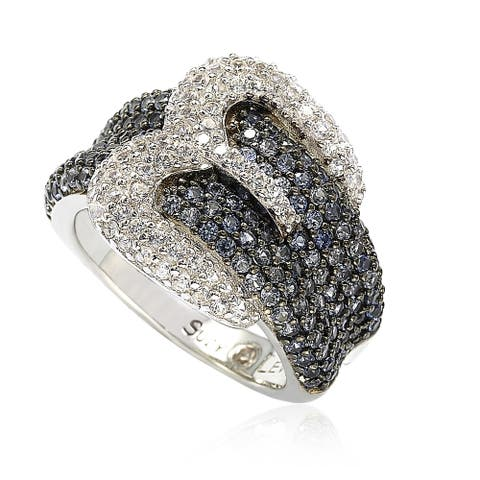 Suzy L. Sterling Silver Blue & White Sapphire & Diamond Accent Buckle Ring