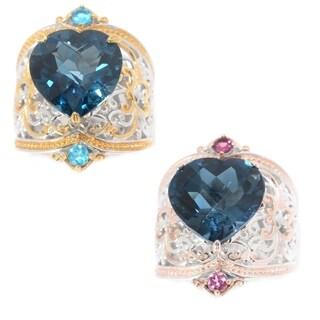 Michael Valitutti Palladium Silver Heart Shaped London Blue Topaz & Gemstone Band Ring