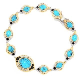 Michael Valitutti Palladium Silver Choice of Length Spiderweb Turquoise & Black Spinel Bracelet