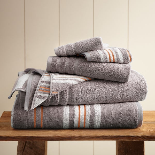Amraupur Overseas 6-Piece Yarn Dyed Racer Stripe Towel Set
