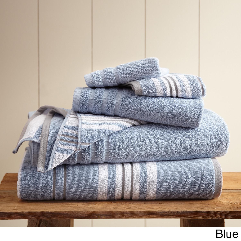 Amraupur Overseas 6-Piece Yarn Dyed Racer Stripe Towel Se...