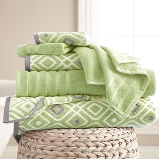 6-Piece Yarn Dyed Combed Cotton Oxford Towel Set