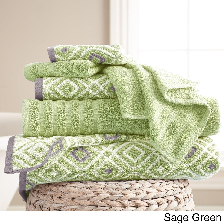 Amraupur Overseas 6-Piece Yarn Dyed Oxford Towel Set (Sag...