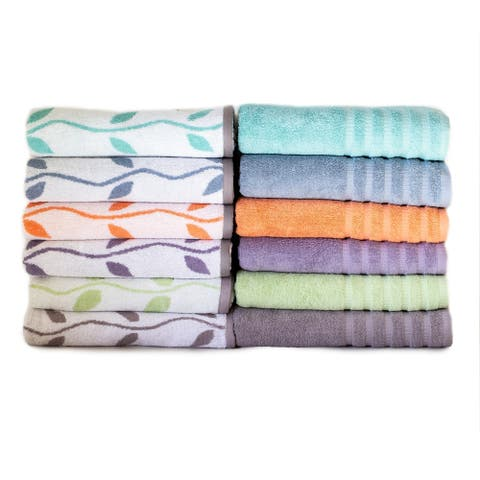 Amraupur Overseas 6-Piece Yarn Dyed Organic Vines Towel Set
