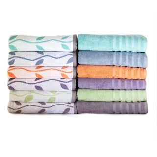 6-Piece Yarn Dyed Organic Vines Towel Set