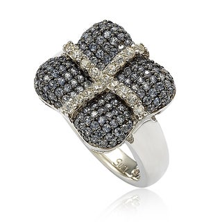 Suzy Levian Sterling Silver Blue & White Sapphire & Diamond Accent Wrapped Cushion Ring