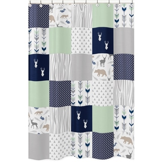 Sweet Jojo Designs Shower Curtain for the Navy and Mint Woodsy Collection