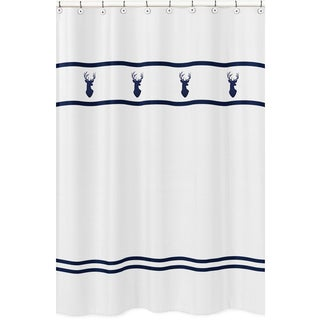 Sweet Jojo Designs Deer Shower Curtain for the Navy and Mint Woodsy Collection