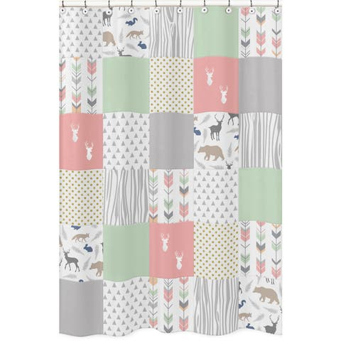 Shower Curtain for the Coral and Mint Woodsy Collection by Sweet Jojo Designs - Multi