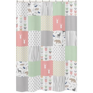 Shower Curtain for the Coral and Mint Woodsy Collection by Sweet Jojo Designs