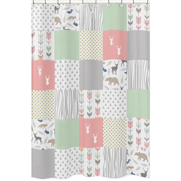 Shop Shower Curtain For The Coral And Mint Woodsy Collection By Sweet Jojo Designs