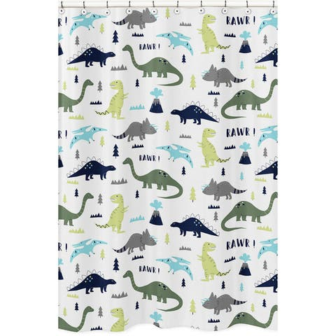 Sweet Jojo Designs Shower Curtain for the Blue and Green Mod Dinosaur Collection - Multi