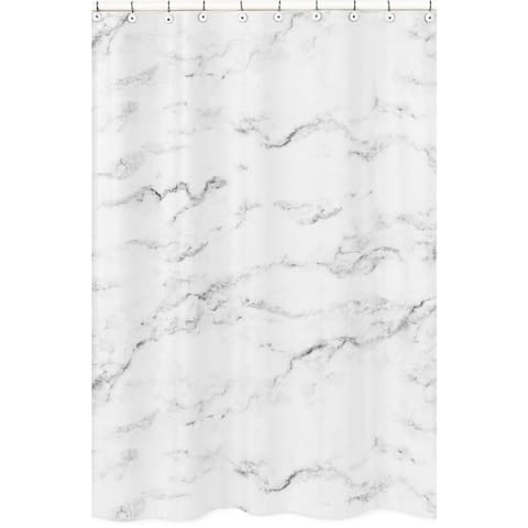 Sweet Jojo Designs Shower Curtain for the Black and White Marble Collection