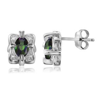 Jewelonfire Sterling Silver 7/8ct TGW Mystic Topaz and White Diamond Accent Earrings