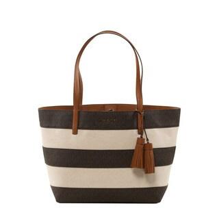 Michael Kors Brown Stripe Large Tote Bag