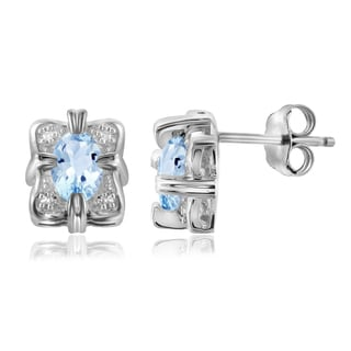 Jewelonfire Sterling Silver 1 1/5ct TGW Sky Blue Topaz and White Diamond Accent Earrings