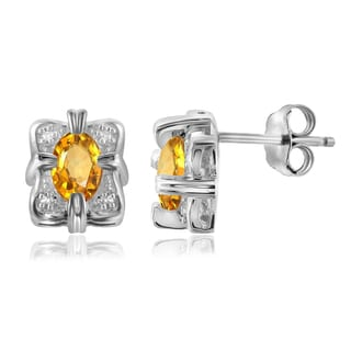 Jewelonfire 0.92 CT Citrine Gemstone & Accent White Diamond Earring in Sterling Silver